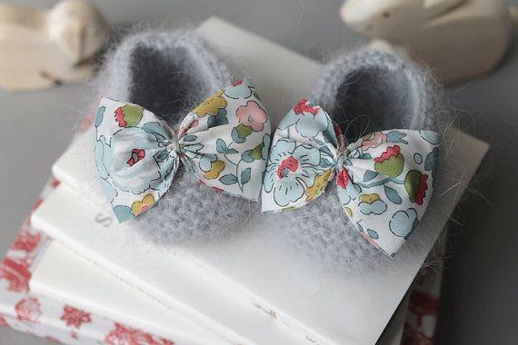 Angora baby booties with Liberty fabric bowtie. via Etsy