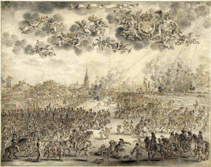 Adriaen Pietersz. van de Venne (ca. 1589-1662). Het vertrek van Koning Charles II van Scheveningen op 2 juni 1660.