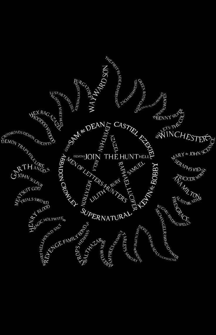 The Road So Far | Supernatural Design Challenge April Almaraz. This is my design of the Anti-Demon Possession symbol with words names and phrases from the show over the years. Vote for my design