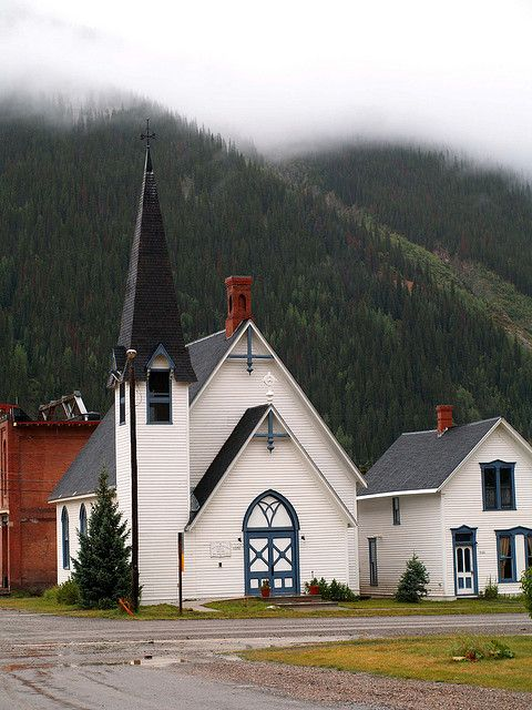 Silverton Church, Co, USA. Silverton is one of the highest towns in the United States, at 9,305 feet (2,836 m) above sea level. It is a fascinating little mining town where time seems to have stood still. all the house's and shops retain a very old charm.
