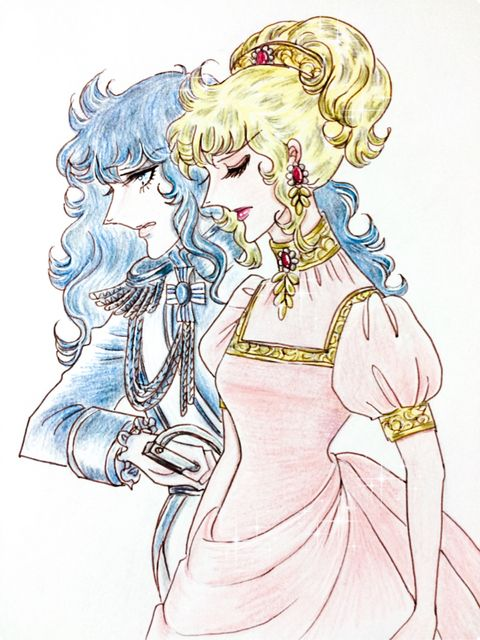 Two faces of Lady Oscar, from one of the Rose of Versailles colouring book.