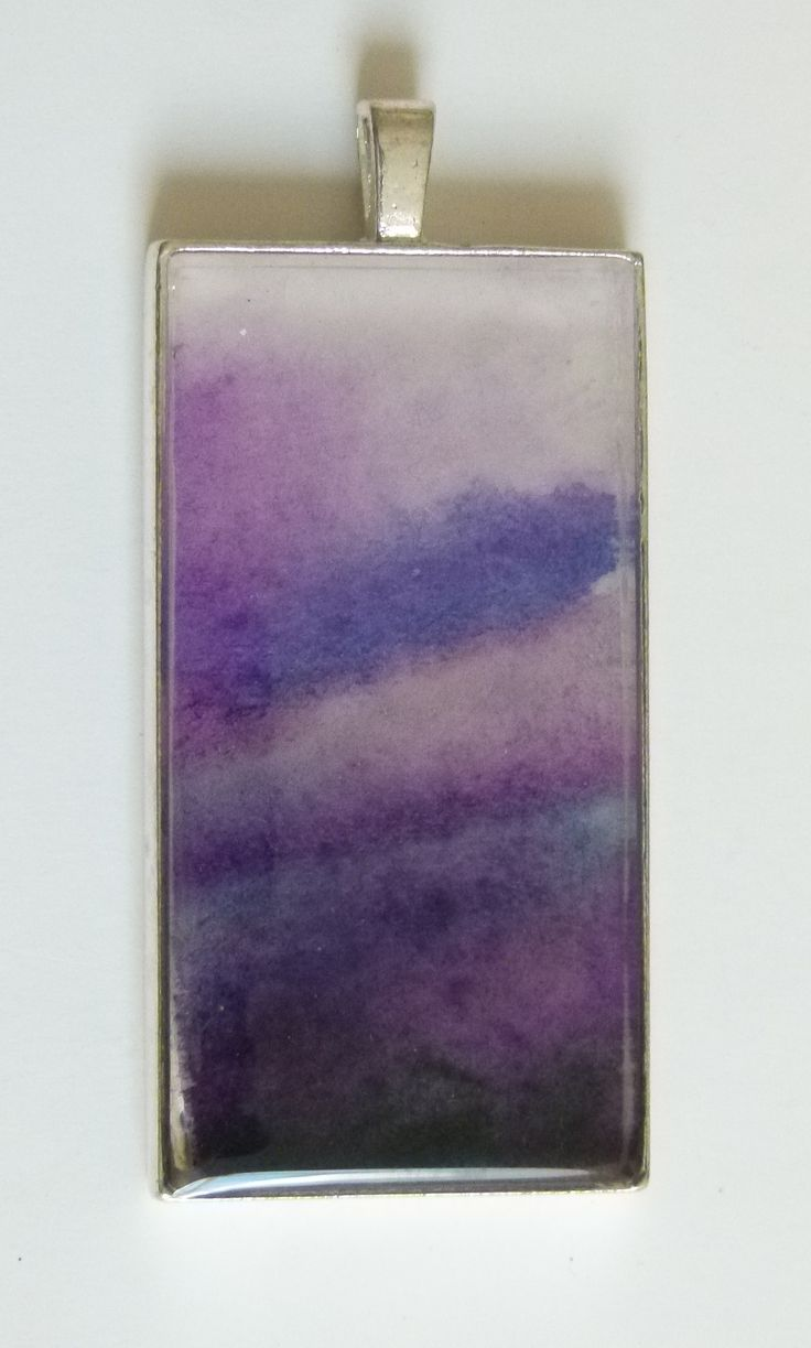 """Night Sky"" - sultry purple washes of watercolour, a unique image floating serenely under resin, set in a silverplated bezel.  See it soon at jackiesimmondsstudio on Etsy"