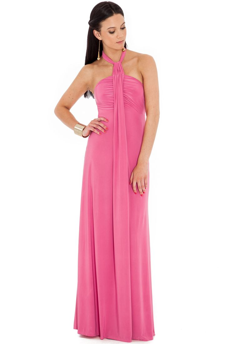 PINKHALTER NECK MAXIDRESS This maxi dress is super flattering and offers easy elegance to every occasion. The self tie halter neck also allows you to control the height at the front. Self tie halter neck. Lined at bust. Full length. Stretch fabric. Pull on style. Length: Centre frontis 150cm. Model wearsSizeS and is 5'8 Made From: 92% Polyester, 8% Elastane    SIZING INFORMATION Need help deciding what size you need? For our Size Chart click here If you ne...