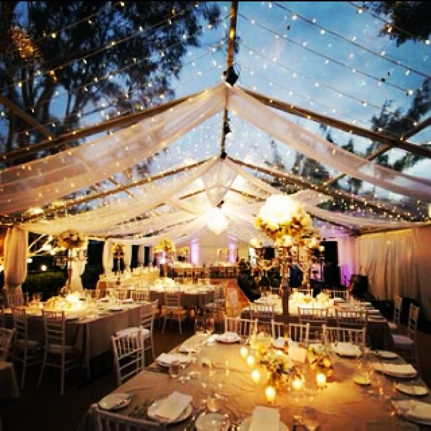 Exquisite Fairy Lights With White Draping In Clear Marquee