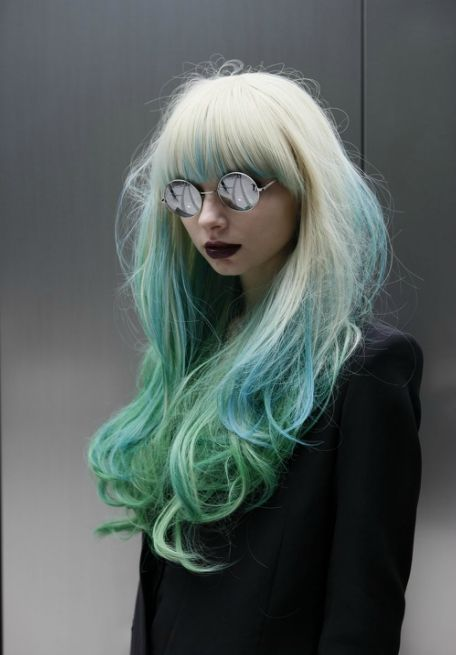 Long wavy hair in green and blue colors More hair inspiration at: http://www.hairchalk.co/ #haircolor #hairdye #hairchalk