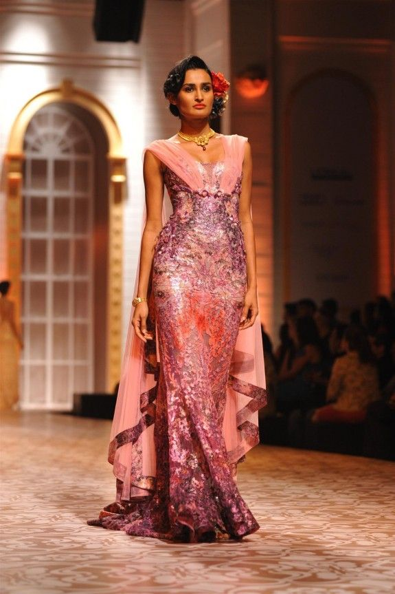Love the pink/purple ombre dress | Falguni Shane Peacock Aamby Valley Bridal Fashion 2013 Mumbai