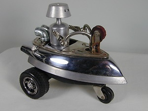 """""""COSMIC TRICYCLE"""" Found Object Robot Sculpture Assemblage $139.00"""