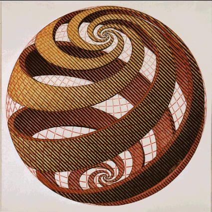 'Sphere Spirals' (1958) by Dutch artist & printmaker M.C. Escher (1898-1972). Color woodcut in grey, black, yellow & pink. via the artist's site                                                                                                                                                      More