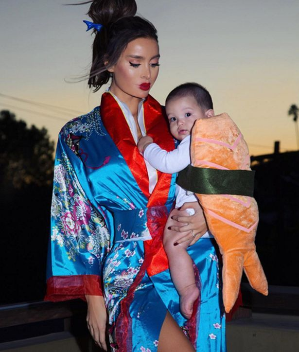Sarah Stage with her baby dressed up as sushi for Halloween on Instagram