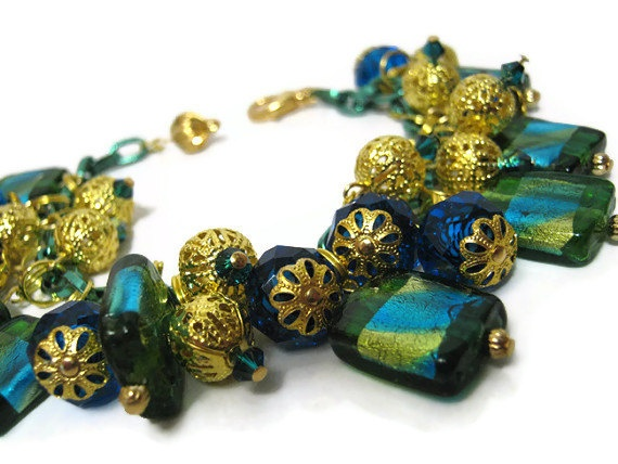 Green Blue and Gold Plated Beaded Dangle Bracelet by SharkysWaters, $35.00   Love the colors. Makes me think of the ocean and treasure.