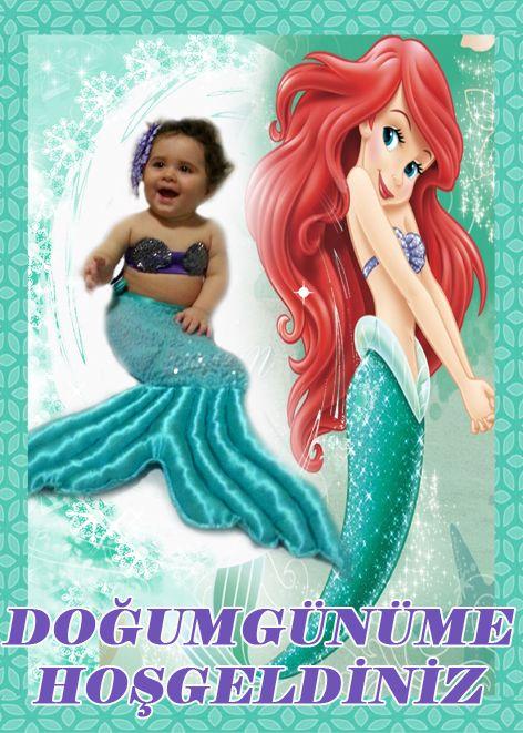 Deniz Kızı Ariel Doğum Günü Hoşgeldiniz Afişi, Küçük Deniz Kızı Ariel Doğum Günü