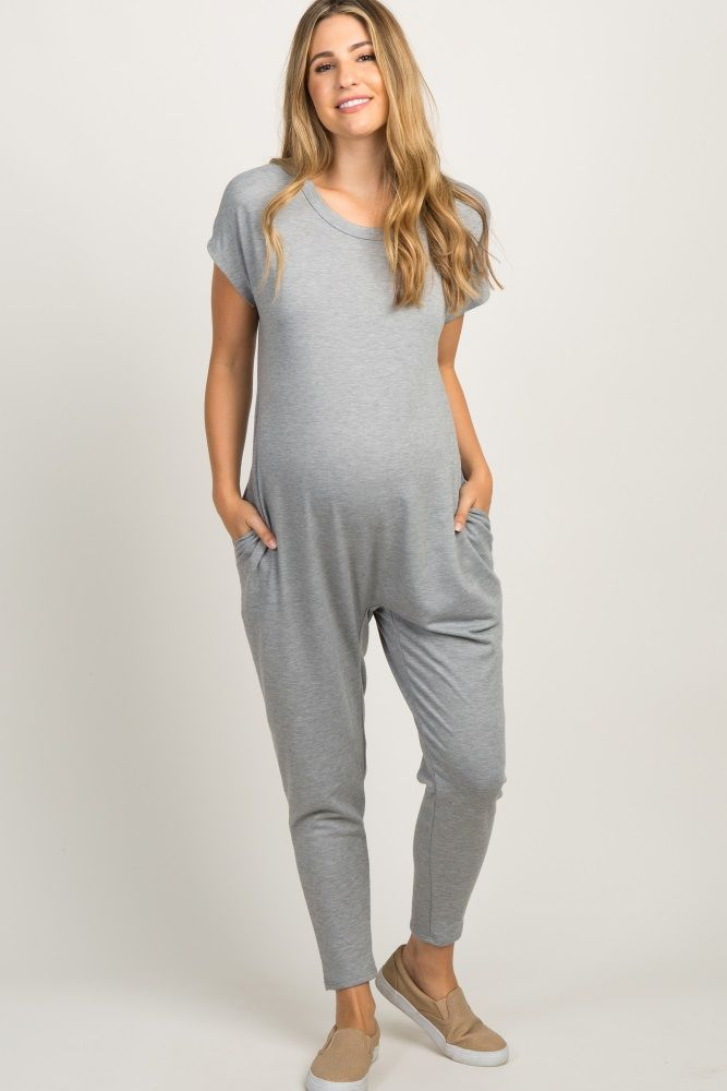 Heather Grey Short Sleeve Maternity Jumpsuit Maternity Jumpsuit Stylish Maternity Outfits Trendy Maternity Outfits