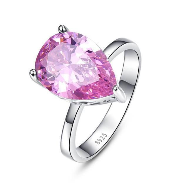 FREE Shipping Today on All Orders ! Water Drop Topaz 925 Sterling Silver Pink Stone Ring