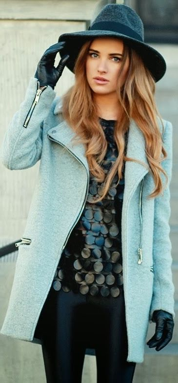 blue woolen coat, gloves + hat