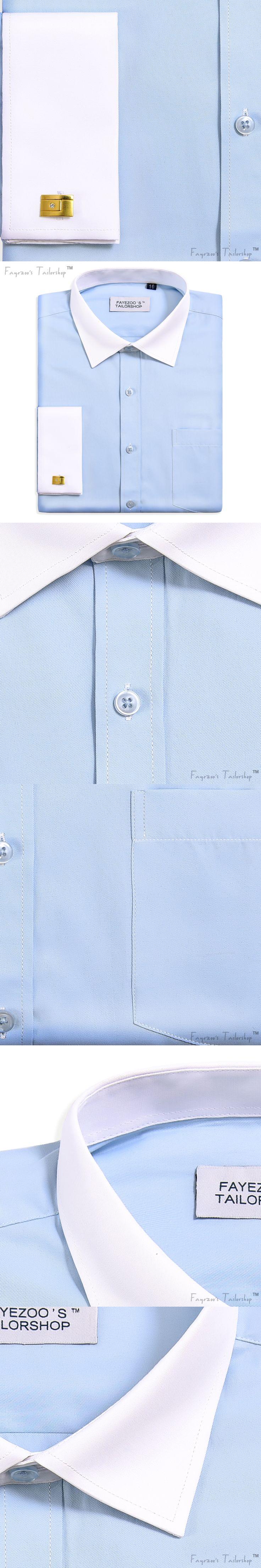 Men's Non Iron French Cuff Contrast Spread Collar Light Blue Formal Business Dress Shirt Sheen & Soft Long Sleeve