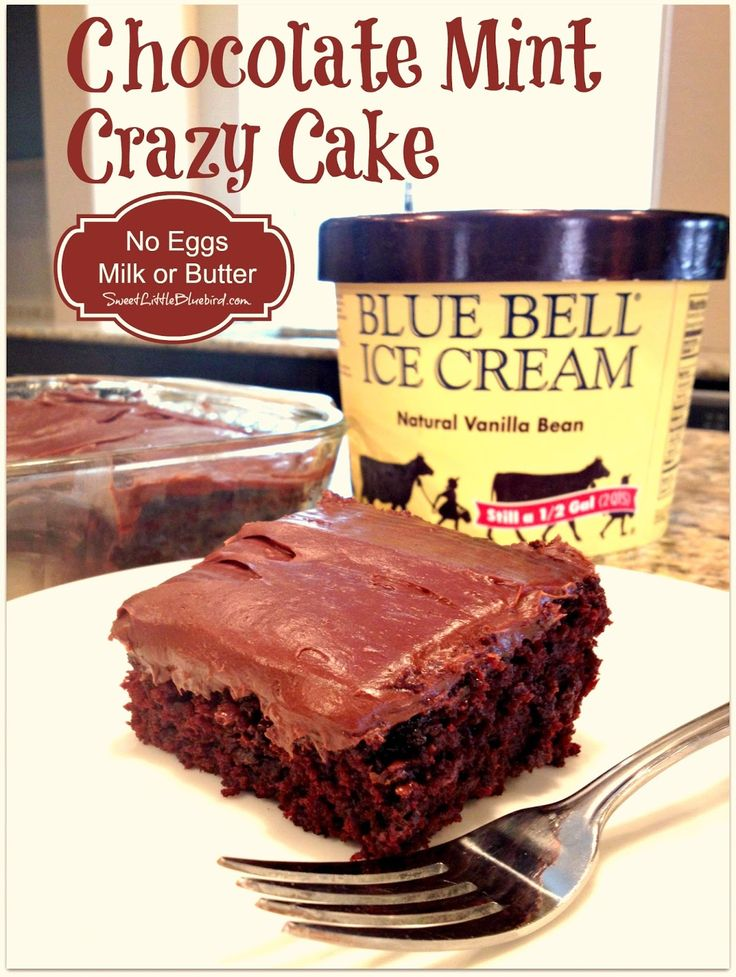 CHOCOLATE MINT CRAZY CAKE - No Eggs, Milk or Butter!  |  SweetLittleBluebird.com
