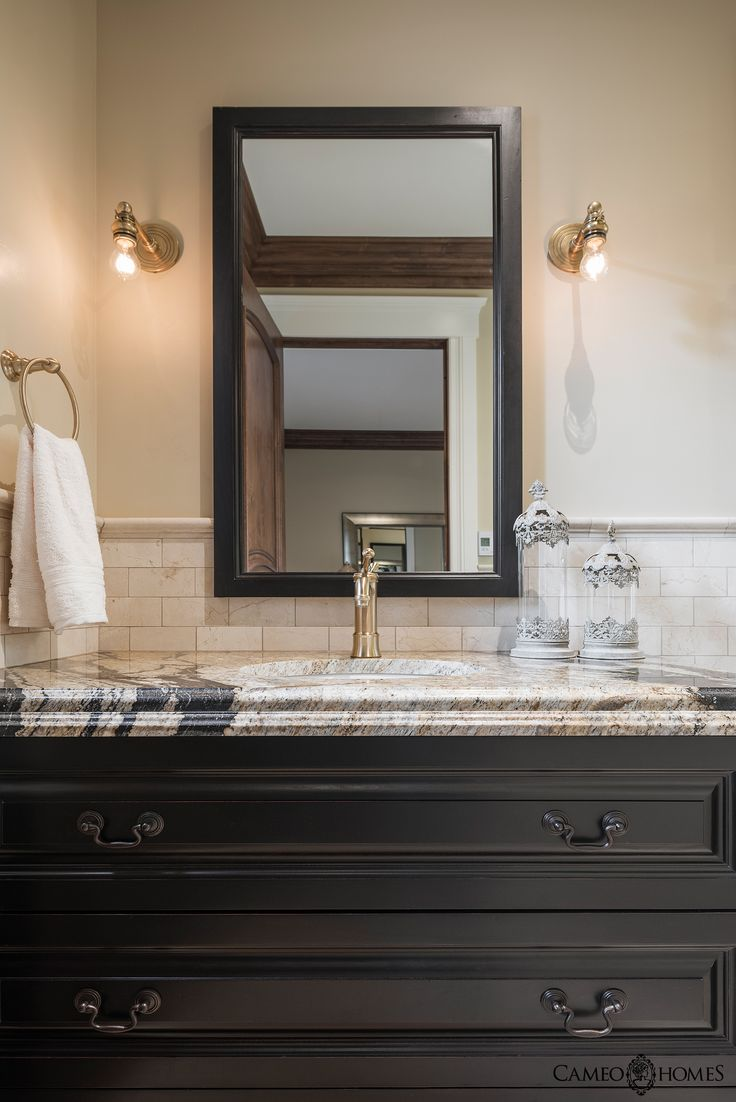 Bathroom With Black Cabinets In By Cameo Homes Inc Cabinets By Highline  Cabinets