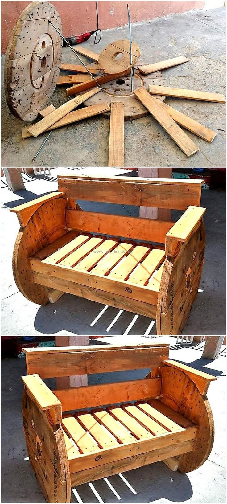 Here is an idea for fulfilling the seating need in the patio, the design of the bench is innovative and it just like a cable reel. There are no legs of the bench and the cable reel design is created on its side for the support.