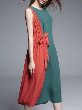 Casual Sleeveless Silk Midi Dress