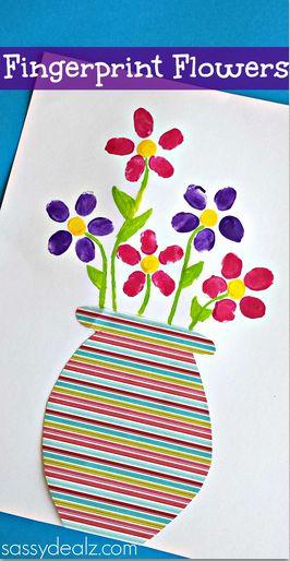 Fingerprint Flower Pot Craft for Kids to Make #Mothers day gift idea