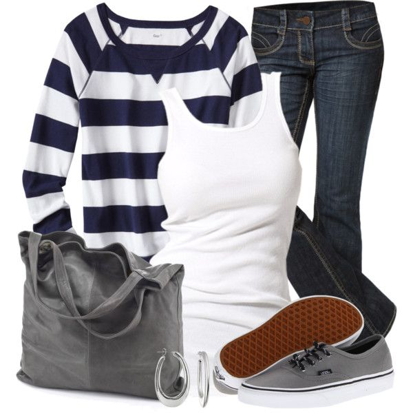 """VANS & Striped Top"" by wishlist123 on Polyvore"