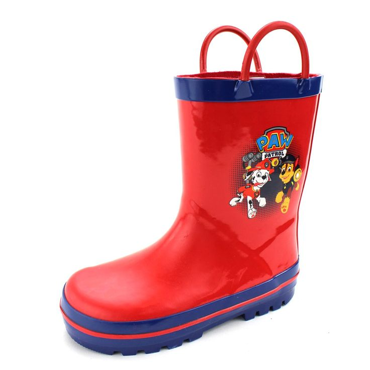 Paw Patrol Kids Rain Boots (Red/Blue Marshall & Chase, 7/8 M US Toddler). Paw Patrol kids waterproof rain boots with pull on strap handles. Officially licensed Nick Jr. Paw Patrol toddler little kid footwear. Features handles for easy on and off; Waterproof; Skid resistant, non-marking rubber soles. Your favorite Paw Patrol pups, Marshall, Chase, Rubble, Zuma, Rocky, Skye & Everest. Wellies; Nickelodeon Paw Patrol; Durable and easy to clean; Imported.