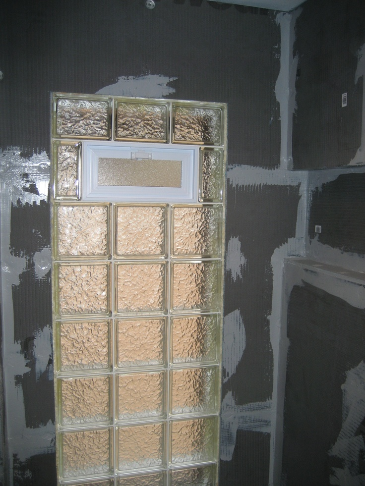 An ice pattern bathroom window in the shower before tile for Where to buy glass block windows