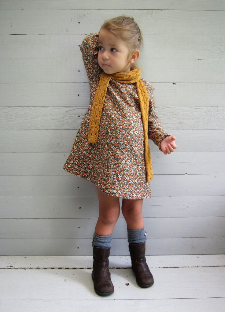 Toddler fall fashion | Mustard yellow scarf, print dress, knee socks boots
