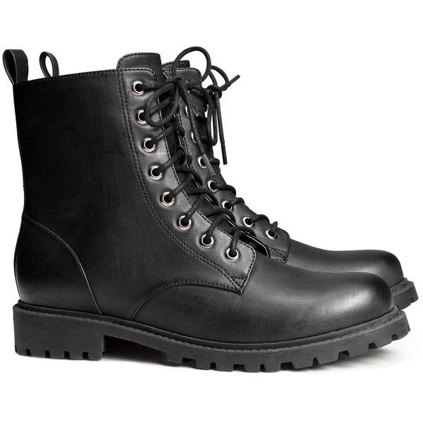 H&M Boots ($18) ❤ liked on Polyvore featuring shoes, boots, h&m, black, rubber sole boots, h&m shoes, chunky boots and kohl shoes