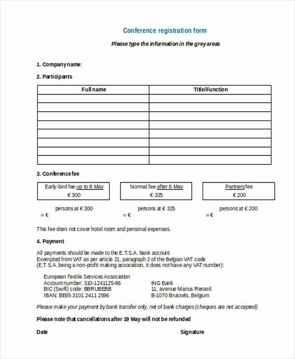 Printable Registration Form Template Elegant Free 38 Registration Form Templates In 2020 Word Template Registration Form Templates Free Design