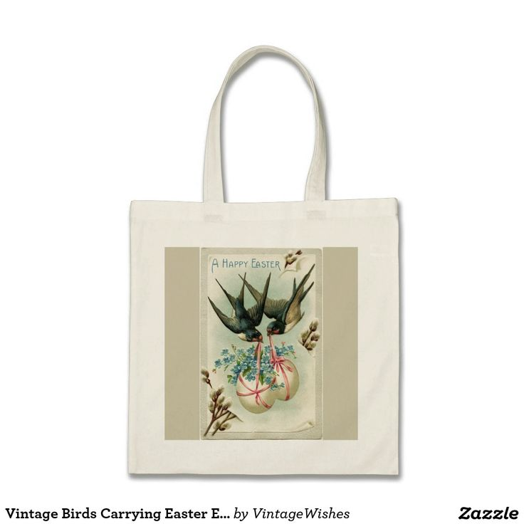 Vintage Birds Carrying Easter Eggs Yellow Tote Bag