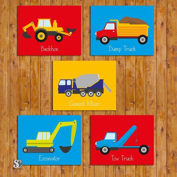 Boys Construction Trucks Transportation Wall Art Vehicles Room Decor Set of 5 Printable Trucks Wall Art High Resolution JPEG 11x14 (107)