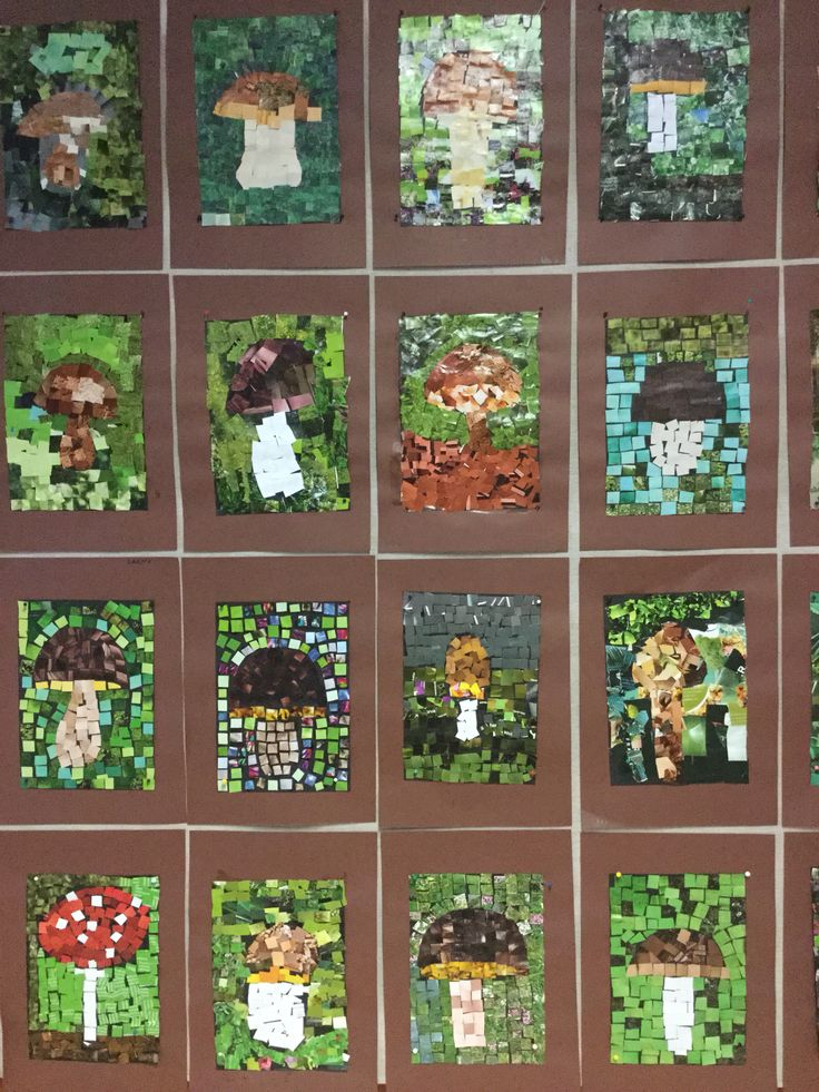 DIY Autumn Mushrooms Mosaik with paper squares..⭐⭐DIY Herfst Paddestoelen Mozaïek met papieren vierkantjes.⭐⭐ Syksyn sienet, mosaiikki.
