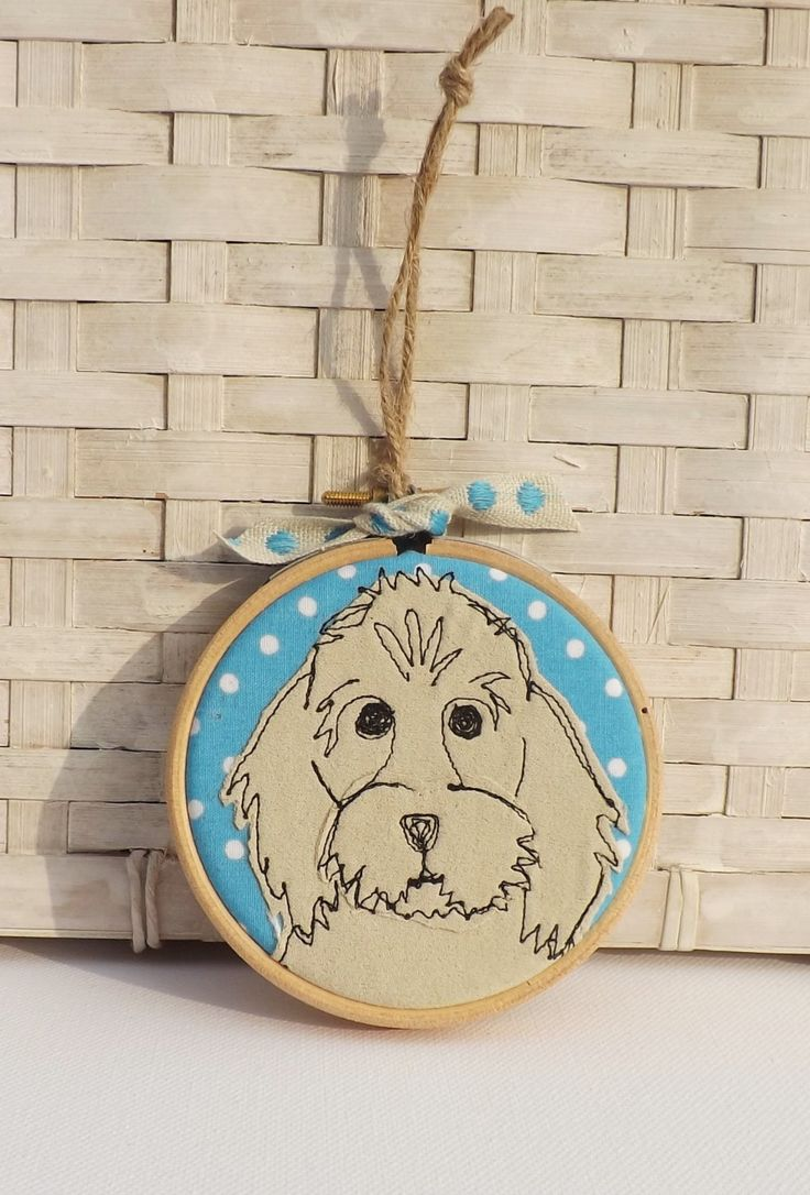 Cockerpoo, dog, hoop, hoop art, applique, embroidery, free motion, gift, decoration, ornament, birthday by TheDogandtheMoon on Etsy