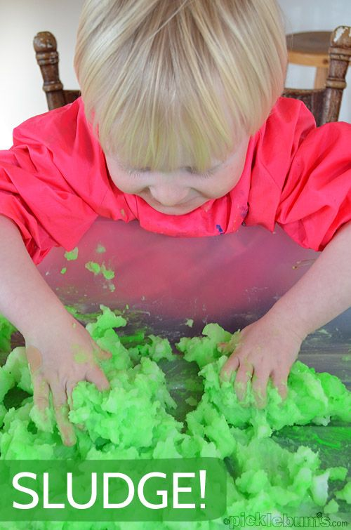 Sludge! - super sensory play with COOKED cornstarch and water!  3 cups of corn starch (corn flour in the UK) 8 cups of hot water 1/2 cup of dish detergent & a good squirt of paint or food colouring (optional)