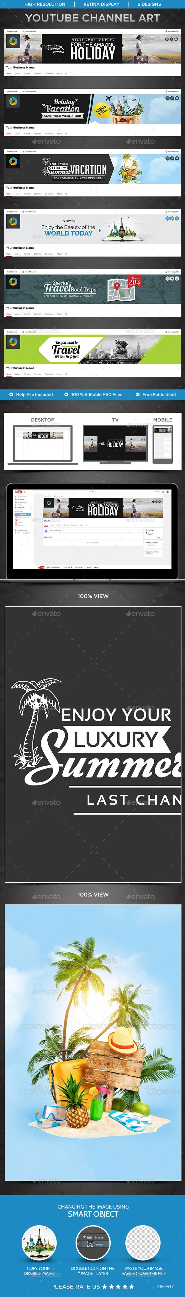 Travel Youtube Channel Art - 6 Designs Template PSD. Download here: http://graphicriver.net/item/travel-youtube-channel-art-6-designs/12800648?ref=ksioks