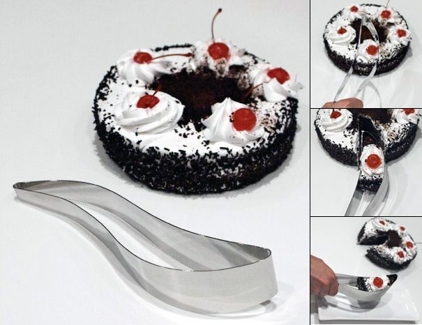 The Magisso cake server cuts the perfect cake slice every time - by lightly squeezing the handle, you can then lift the piece of cake, and release it on the plate.