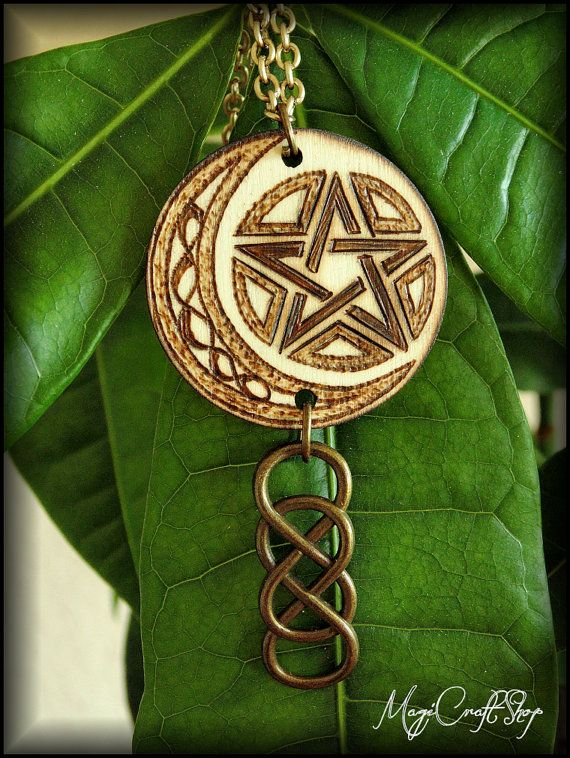 PENTACLE medallion made on wood and pyrographed by magicraftshop