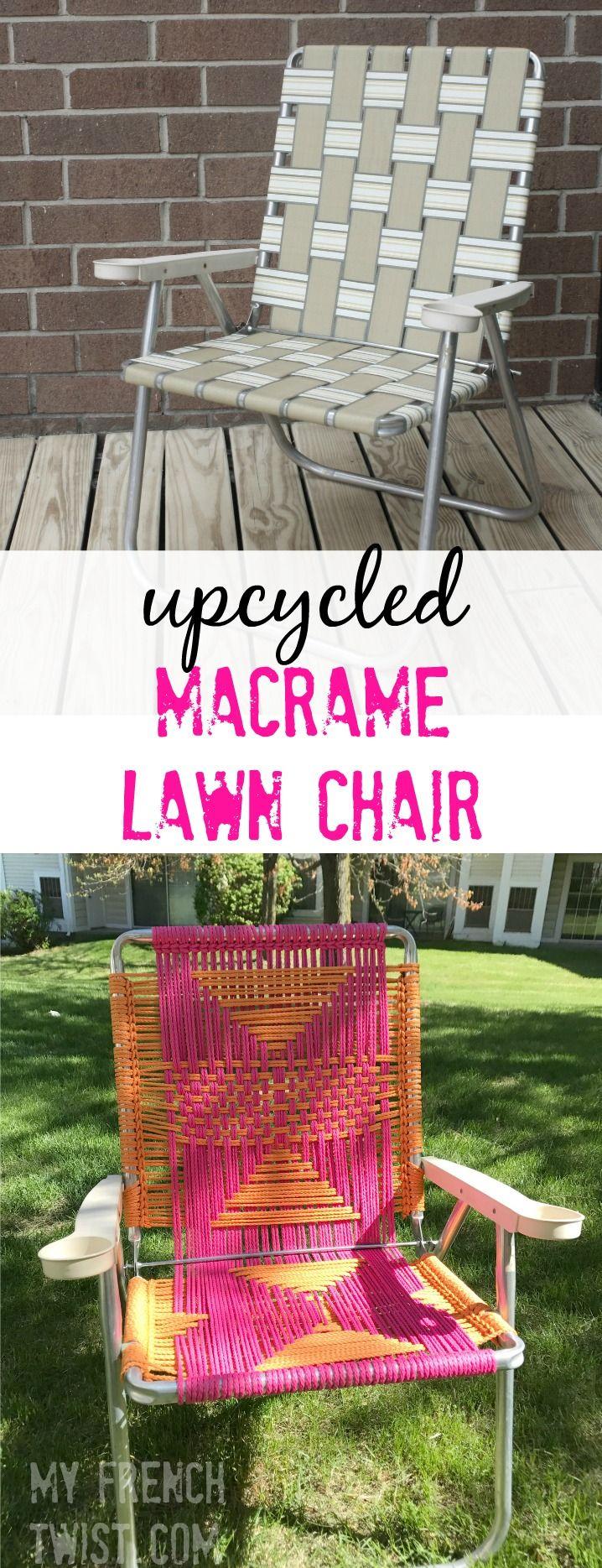 Upcycled macrame lawn chair! Sooo cute!