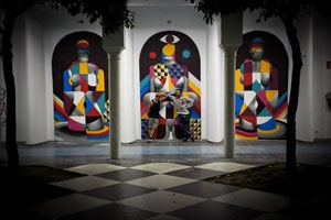 "The collaborative works of artists, Remed and Okuda, for the group show ""ESTO NO ES GRAFFITI"" at Delimbo Gallery in Sevilla, Spain, are quite impressive.  Remed's fusion of strong shapes and rich color palette combined with Okunda's monotone figures compliment each other perfectly.  Remed has something special coming up soon in our printed magazine department.  Keep an eye out!"