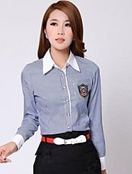 Women's Striped Blue/Pink Shirt , Shirt Collar Long Sleeve Pocket