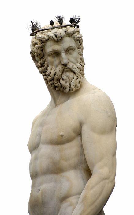 Poseidon statue. Poseidon ist der Gott der Meere, Sein Reich die Ozeane, Meere und Fluesse durchquerte er mit einem goldenen Wagen immer umgeben von Delphinen. Seine Waffe war der Dreizack der ueberall gefuerchtet war.: