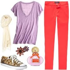 I wish I could pull off mismatch outfits!! #lovecoach (:: Colleges Fashion, Coral Pants, Outfits Inspiration, Fashion Outfits, Cute Outfits, Poppies Perfume, Spring Outfits, Inspiration Coach, Coach Poppies