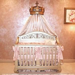 This Little Princess Nursery Includes Our Chelsea Lifetime Crib In Antique Silver And Lavish Baby Bedding Only Luxurious Decor For