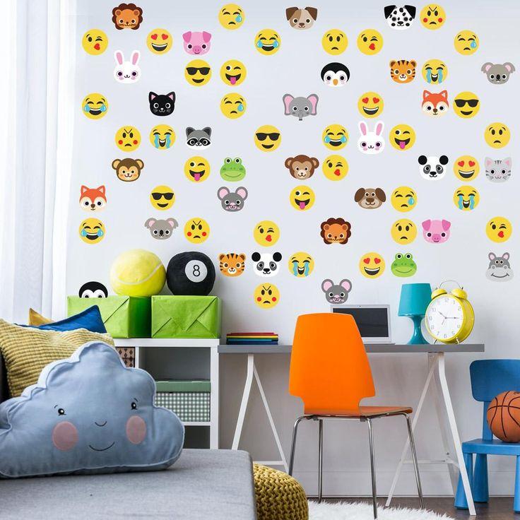 30 Animal Emoji plus 36 Emoji Fabric Wall Decals