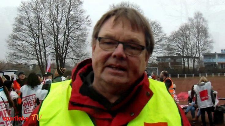 """Pflegestreik #in #Homburg 2017  #Saarland Pflestreik #Saar  #Auch #in Homburg/Saar streikten #die Pflegerinnen #und #Pfleger #am 8.#Februar 2017 #an #der #Uni - #Klinik.   """"Keine Befristungen #mehr - Warnstreik"""" lautete #eins #der Motto´s. #Michael Quetting #zeigt #die #Forderungen #der #Gewerkschaft #ver.#di #auf. #Homburg #Saarland http://saar.city/?p=42864"""