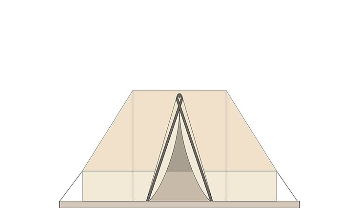 BELL TENT  Overall sleeping places 2 Body length 3,4 m Total width 2,3 m