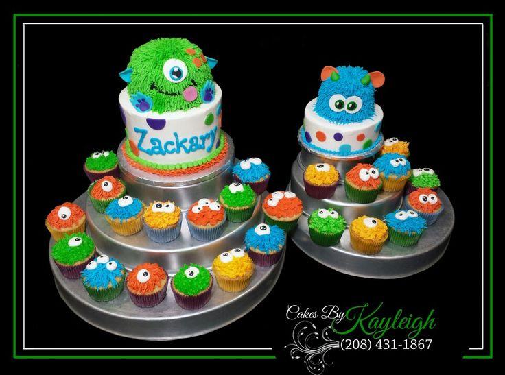Little monster birthday cake with monster smash cake, and mini monster cupcakes.  http:// www.facebook.com/cakesbykayleighboesiger