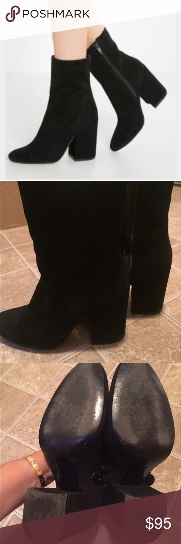 Kendall Kylie black suede boots Suede leather black super comfortable booties. Excellent condition, minor leather imperfections on the heels that I tried to capture on the pic. Not visible unless u look at it closely. Heel tips are still 98% full.  Worn few times. Price is FINAL AND FIRM!!! FIRM!! Kendall & Kylie Shoes Ankle Boots & Booties