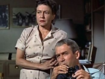 Thelma Ritter with James Stewart in REAR WINDOW.